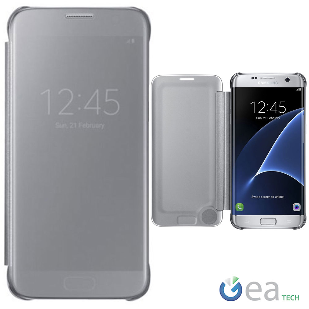 uk availability ee856 a5435 Details about Clear View Cover Original for Samsung Galaxy S7 Edge G935F  Case Slim Silver